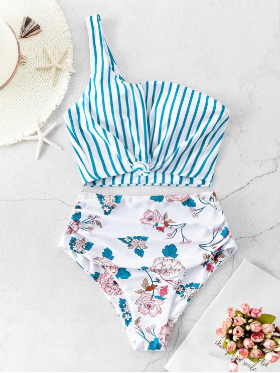 sale ZAFUL Striped Flower One Shoulder Knotted Tankini Swimwear - MULTI-A XL