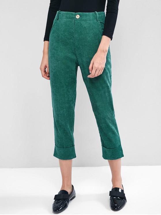 online Corduroy Cuffed Zipper Fly Pocket Pants - GREENISH BLUE M