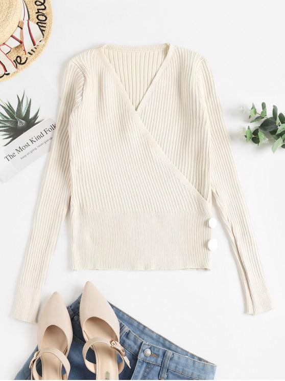 best Buttons Solid Fitted Surplice Knitwear - APRICOT ONE SIZE
