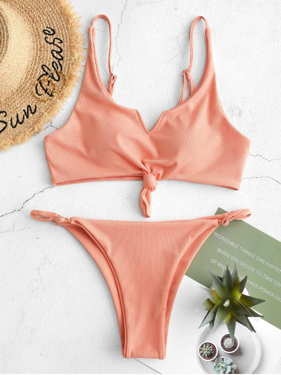 trendy ZAFUL Ribbed V Notch Knot String Bikini Swimsuit - ORANGE PINK L