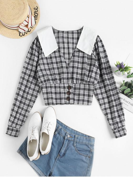 affordable Buttoned Plaid Crop Blouse - BLACK ONE SIZE