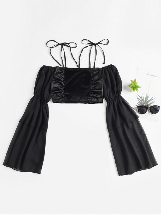 sale Velvet Flare Sleeve Tie Shoulder Crop Blouse - BLACK S