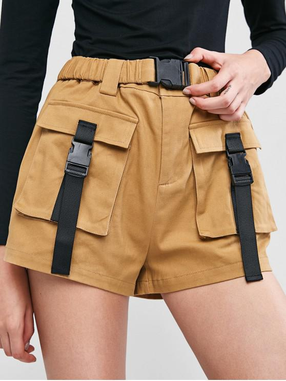 unique ZAFUL Buckled Pockets Belted Zipper Shorts - CINNAMON L