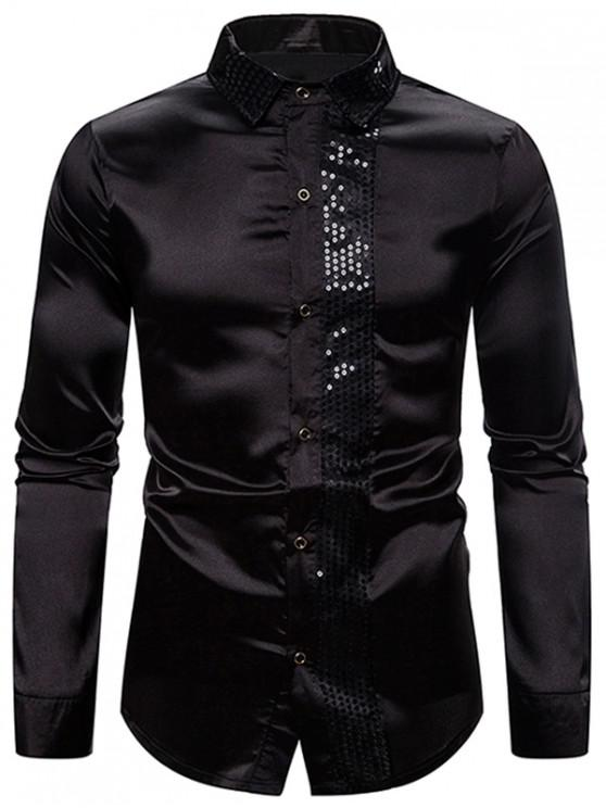 trendy Shiny Sequins Panel Button Up Shirt - BLACK 2XL