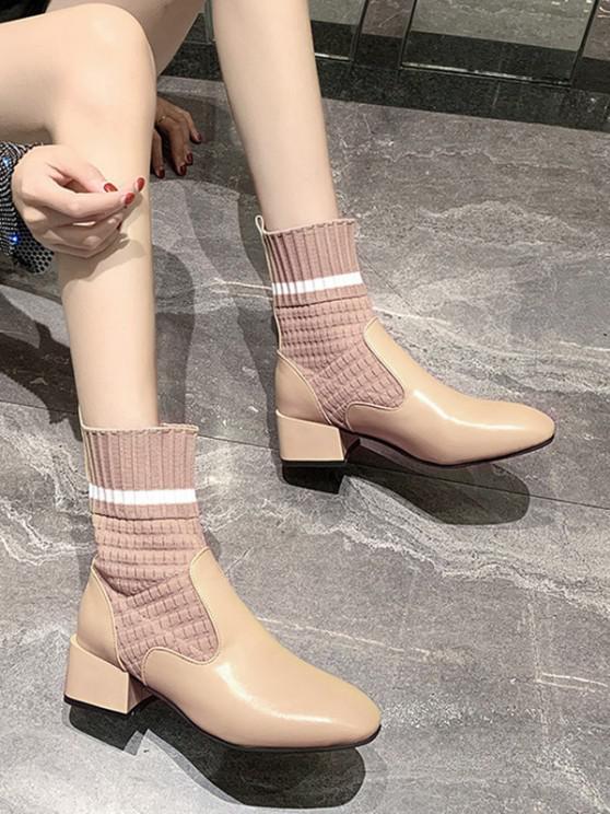 chic Striped Patch Sock Mid Heel Boots - BEIGE EU 36