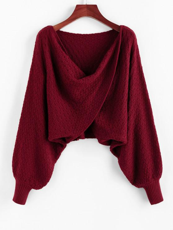 ZAFUL Overlap Batwing Sleeve Cowl Front Sweater - نبيذ احمر M