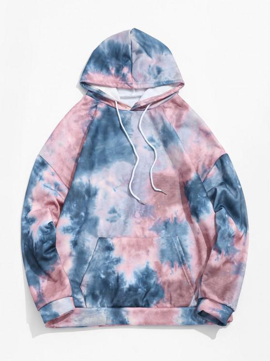 women Tie Dye Pullover Fleece Drawstring Hoodie - MULTI-B XL