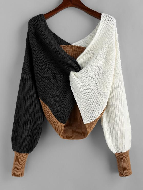 ladies Plunge Colorblock Twist Sweater - MULTI-G L