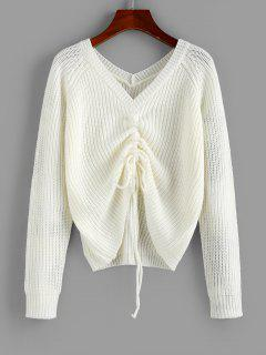 ZAFUL V Neck Shirred Ribbed High Low Sweater - Milk White S