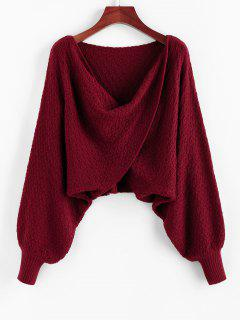 ZAFUL Overlap Batwing Sleeve Cowl Front Sweater - Red Wine L