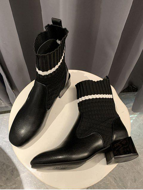 latest Striped Patch Sock Mid Heel Boots - BLACK EU 37 Mobile
