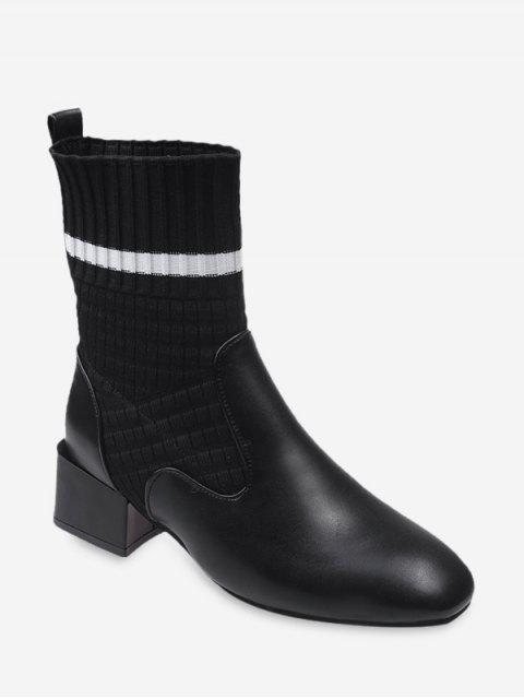 sale Striped Patch Sock Mid Heel Boots - BLACK EU 35 Mobile