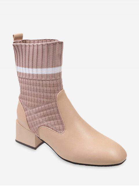hot Striped Patch Sock Mid Heel Boots - BEIGE EU 35 Mobile
