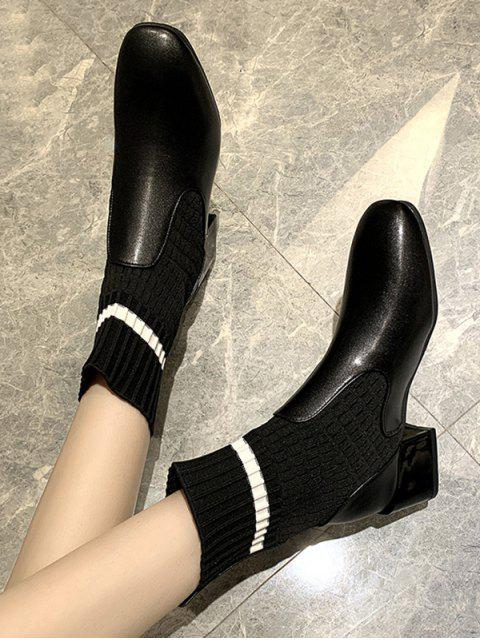 hot Striped Patch Sock Mid Heel Boots - BLACK EU 36 Mobile
