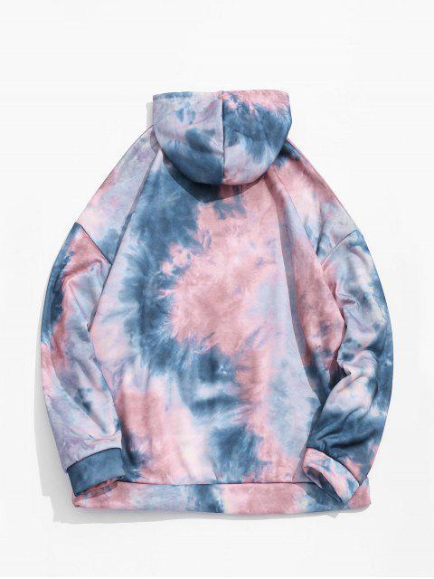 Tie Dye Pullover Fleece con capucha con cordón - Multicolor-B S Mobile