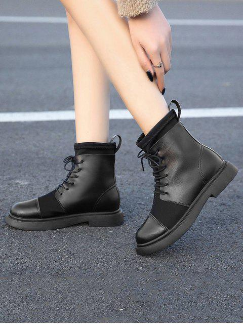 fashion Plain Patch PU Leather Low Heel Ankle Boots - BLACK EU 38 Mobile