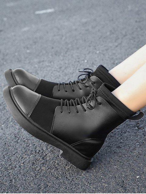 affordable Plain Patch PU Leather Low Heel Ankle Boots - BLACK EU 39 Mobile