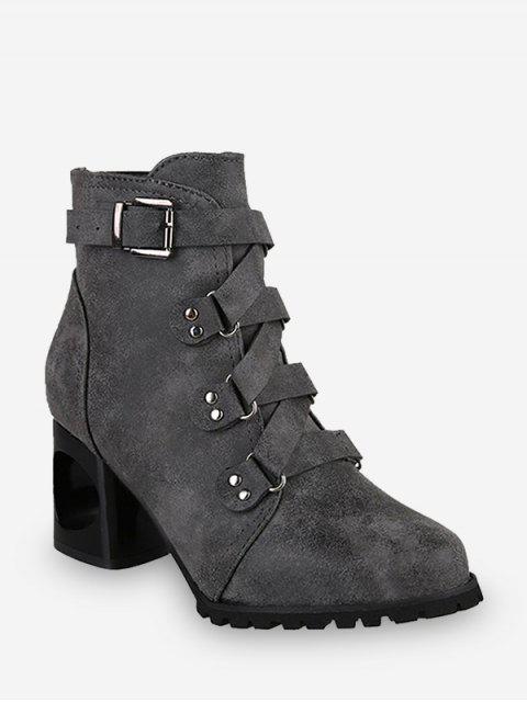 best Criss-cross Buckle Strap High Heel Ankle Boots - GRAY EU 43 Mobile