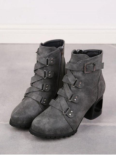 hot Criss-cross Buckle Strap High Heel Ankle Boots - GRAY EU 35 Mobile