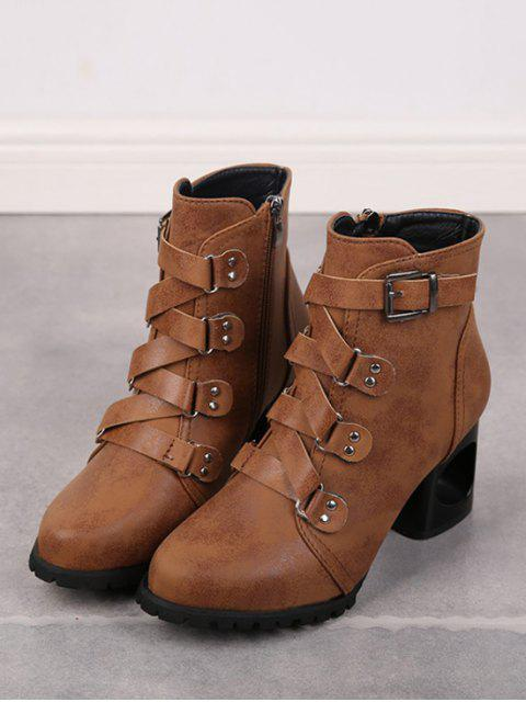 women's Criss-cross Buckle Strap High Heel Ankle Boots - BROWN EU 39 Mobile