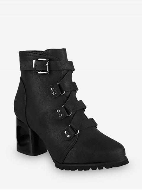 best Criss-cross Buckle Strap High Heel Ankle Boots - BLACK EU 35 Mobile