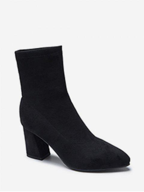 online Solid Color Suede High Heel Fleece Boots - BLACK EU 37 Mobile