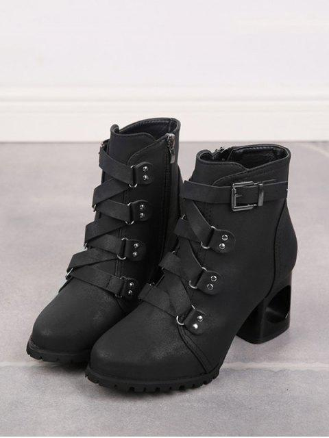 outfit Criss-cross Buckle Strap High Heel Ankle Boots - BLACK EU 36 Mobile