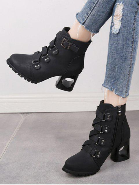 latest Criss-cross Buckle Strap High Heel Ankle Boots - BLACK EU 43 Mobile