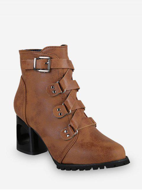 fashion Criss-cross Buckle Strap High Heel Ankle Boots - BROWN EU 36 Mobile