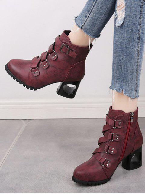 chic Criss-cross Buckle Strap High Heel Ankle Boots - RED WINE EU 38 Mobile