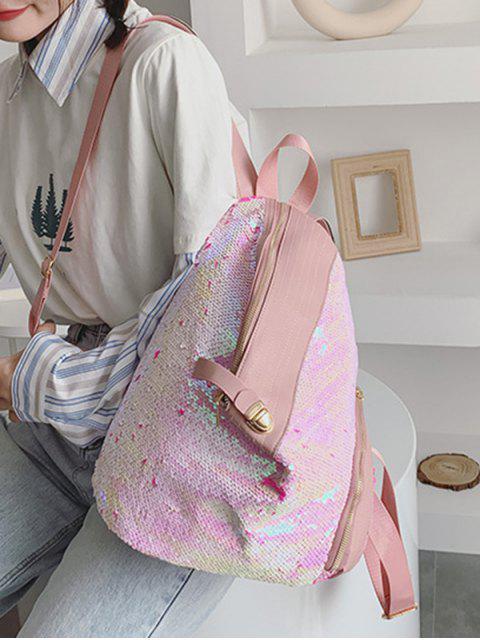 unique Glitter PU Leather Trim Sequins Backpack - PIG PINK  Mobile