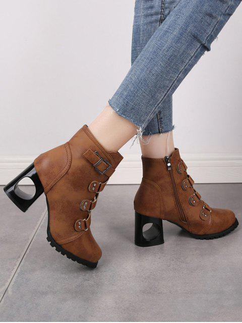 affordable Criss-cross Buckle Strap High Heel Ankle Boots - BROWN EU 34 Mobile