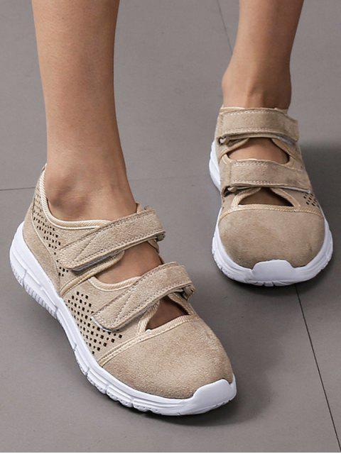 ladies Hook Loop Hollow Out Outdoor Sneakers - LIGHT KHAKI EU 37 Mobile
