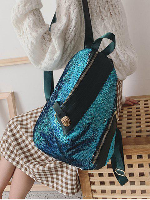 best Glitter PU Leather Trim Sequins Backpack - SILK BLUE  Mobile