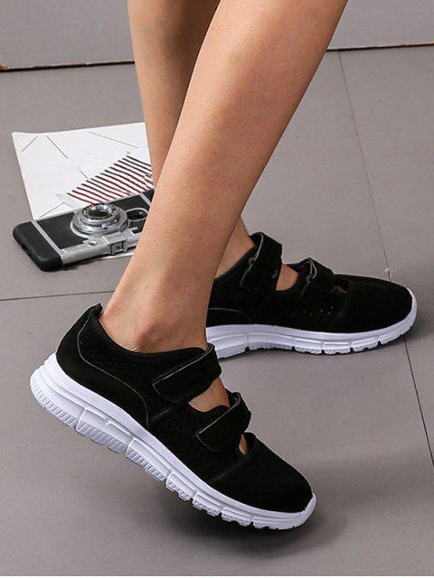 shop Hook Loop Hollow Out Outdoor Sneakers - BLACK EU 37 Mobile