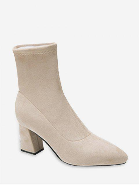 latest Solid Color Suede High Heel Fleece Boots - BEIGE EU 37 Mobile