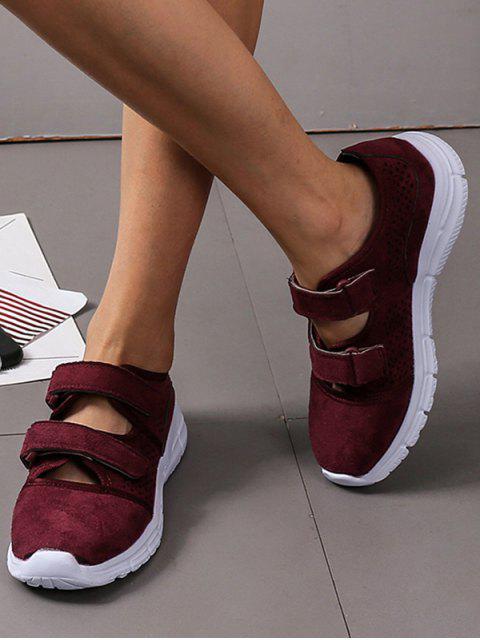 trendy Hook Loop Hollow Out Outdoor Sneakers - RED WINE EU 35 Mobile
