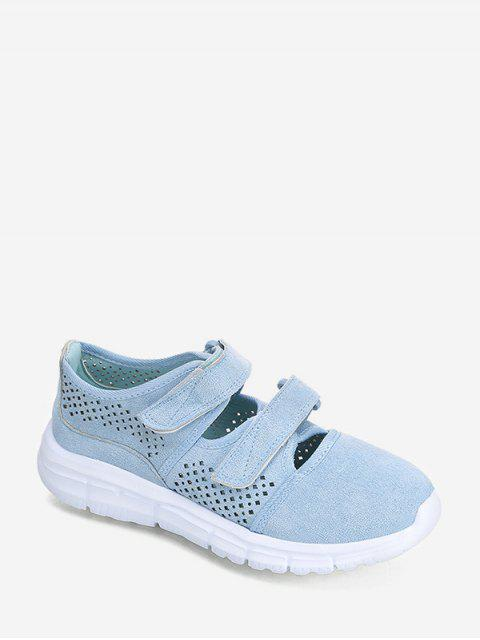 fashion Hook Loop Hollow Out Outdoor Sneakers - BLUE EU 41 Mobile