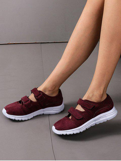 affordable Hook Loop Hollow Out Outdoor Sneakers - RED WINE EU 41 Mobile