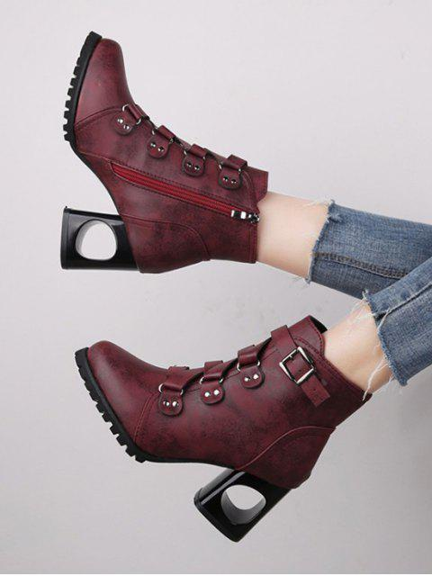 buy Criss-cross Buckle Strap High Heel Ankle Boots - RED WINE EU 37 Mobile