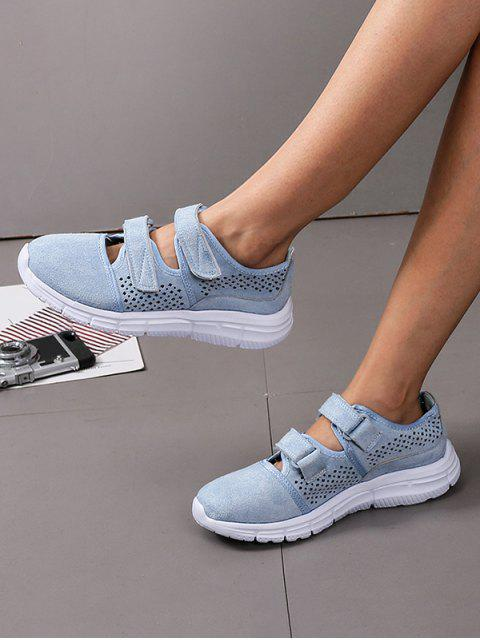 chic Hook Loop Hollow Out Outdoor Sneakers - BLUE EU 36 Mobile
