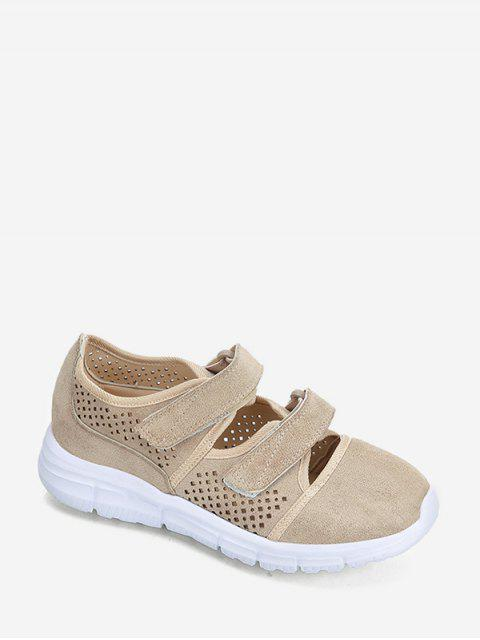 buy Hook Loop Hollow Out Outdoor Sneakers - LIGHT KHAKI EU 36 Mobile
