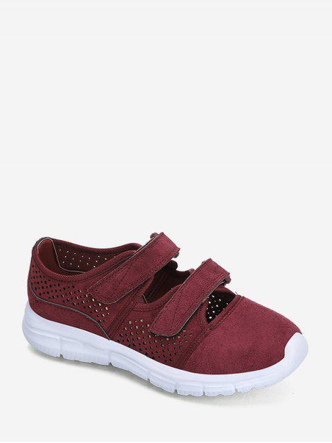 best Hook Loop Hollow Out Outdoor Sneakers - RED WINE EU 37 Mobile