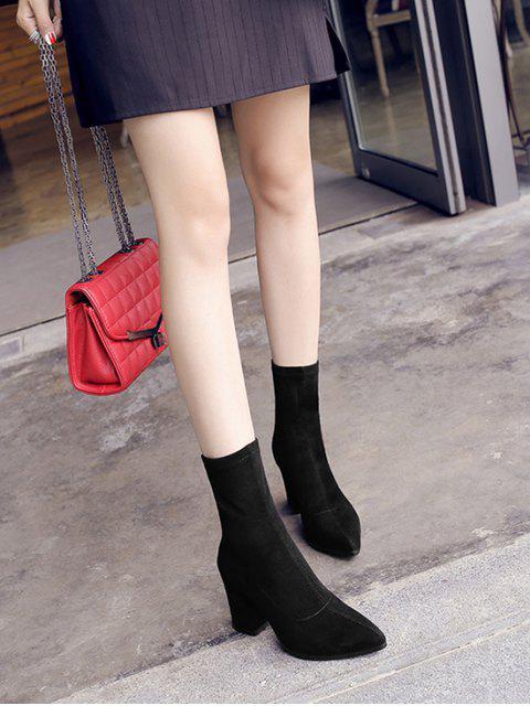 womens Pointed Toe Chunky Heel Mid Calf Boots - BLACK EU 35 Mobile