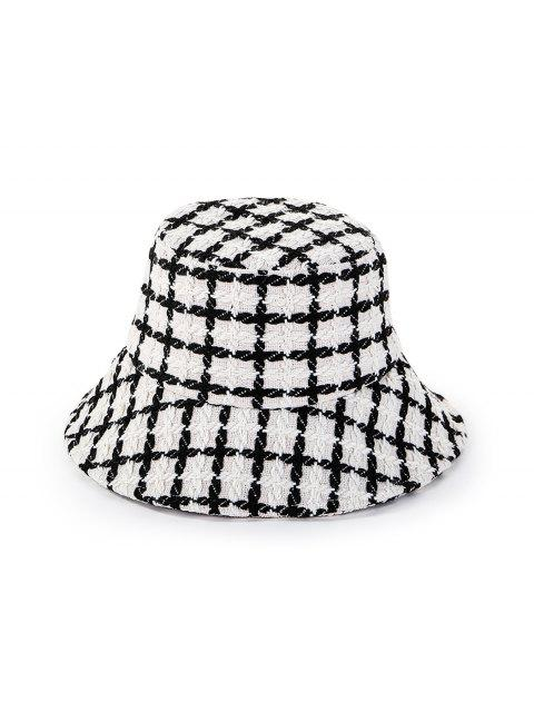 sale Round Plaid Floppy Bucket Hat - WHITE  Mobile