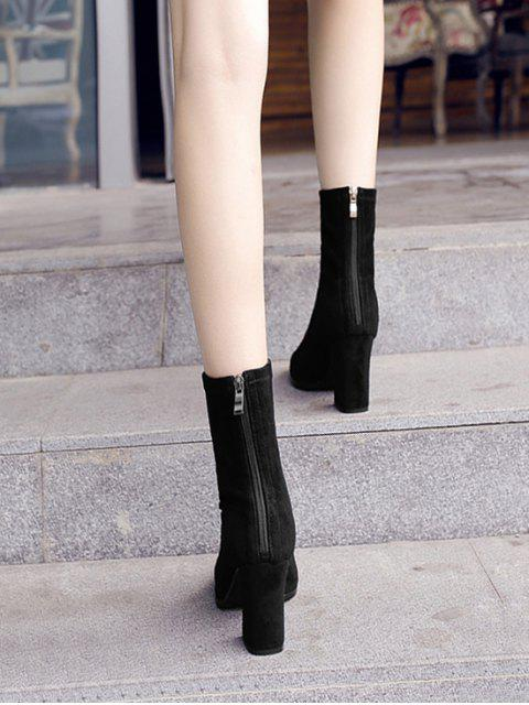 online Pointed Toe Chunky Heel Mid Calf Boots - BLACK EU 42 Mobile