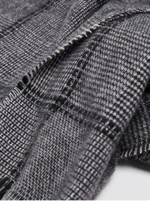 women's Plaid Faux Cashmere Large Scarf - GRAY  Mobile