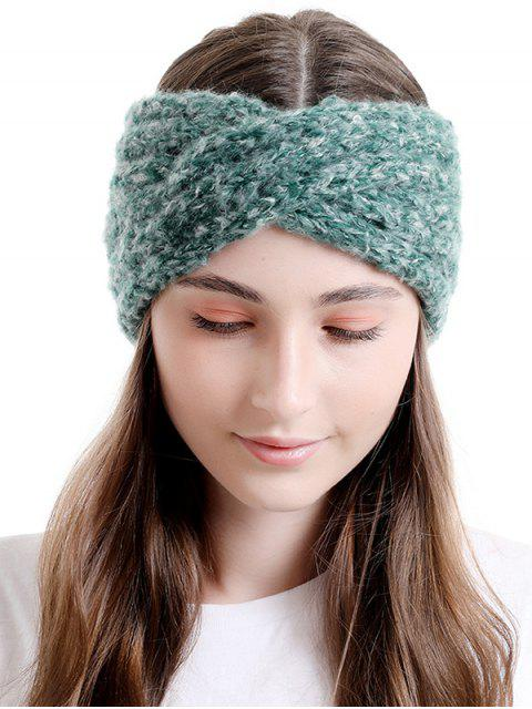 unique Cross Knitted Wide Elastic Headband - SEA TURTLE GREEN  Mobile