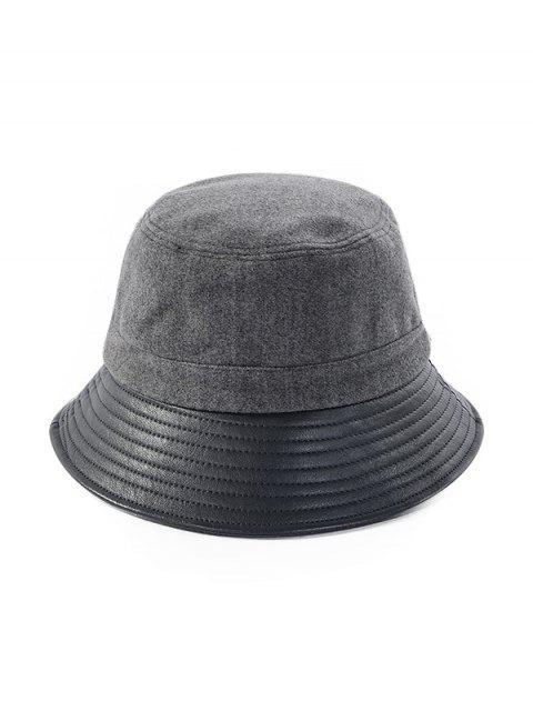affordable Felt Patchwork Solid Bucket Hat - GRAY  Mobile