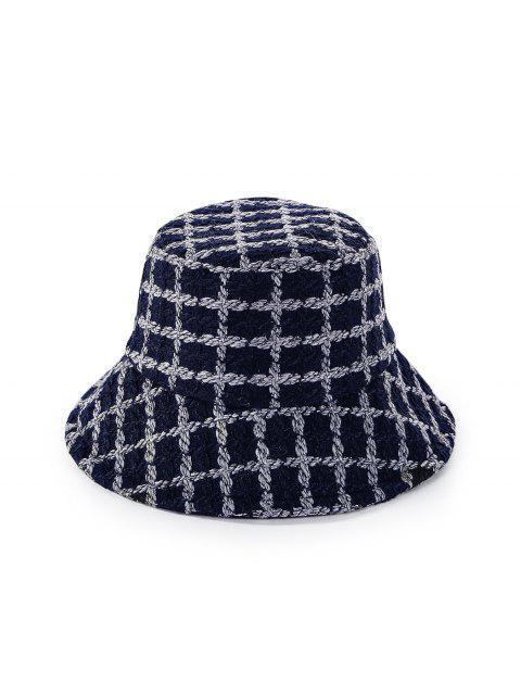 lady Round Plaid Floppy Bucket Hat - CADETBLUE  Mobile